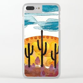 Three Saguaros Clear iPhone Case