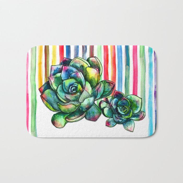 Rainbow Succulents - pencil & watercolor illustration Bath Mat