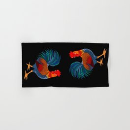 Rooster on Black Hand & Bath Towel