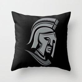 Spartan Warrior Head Metallic Icon Throw Pillow