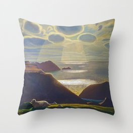Rays of Sun off the Sea Cliffs Sturrall Donegal, Ireland by Rockwell Kent Throw Pillow