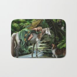 Sleeping Fairy on Unicorn Bath Mat