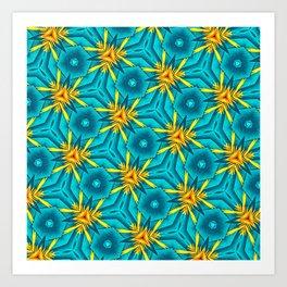 Birds of Paradise Floral Pattern \\ Unique Tropical Vibes \\ Green Yellow Blue Orange Color Scheme Art Print
