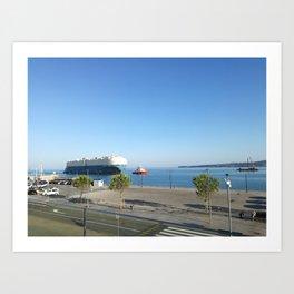 port, sea, cargo ship, blue sky Art Print