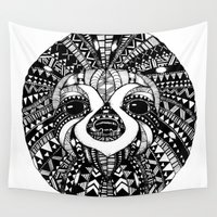 sloth Wall Tapestries featuring Sloth by Emma Barker
