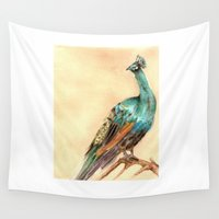 peacock Wall Tapestries featuring Peacock by Goosi