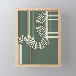 Minimalist Lines in Forest Green Framed Mini Art Print