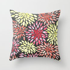 Bold Watercolor Flowers Throw Pillow