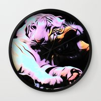 tigers Wall Clocks featuring tigers by Emmy Winstead