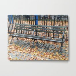 Empty bench with autumn leaves in NYC Metal Print