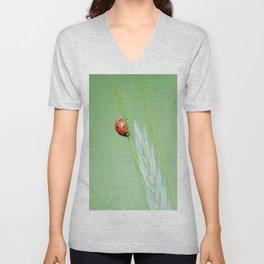 A little ladybug on rye plant Unisex V-Neck