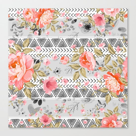 Pattern flowers with triangular shapes Canvas Print