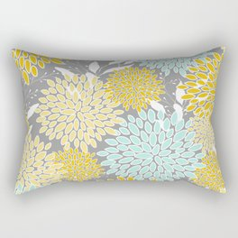 Floral Prints and Leaves, Gray, Yellow and Aqua Rectangular Pillow
