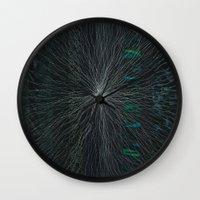 big bang Wall Clocks featuring Big Bang by Artcollisions (Joni Seidenstein)