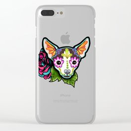 Chihuahua in Moo - Day of the Dead Sugar Skull Dog Clear iPhone Case