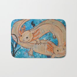 Axolotls  Mexican Salamander Walking Fish Bath Mat