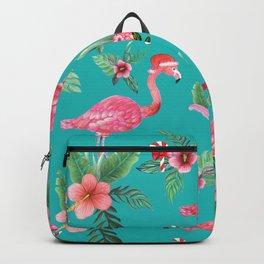 Santa Flamingo Christmas, Holiday Tropical Watercolor Backpack