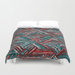 TRIANGLE-RED & GREEN STRIPES Duvet Cover