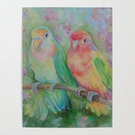 LOVEBIRDS Wildlife tropical birds painting Pastel colors scenic illustration of parrots Poster