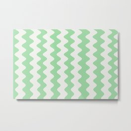Pastel Mint Green & Linen White Wavy Vertical Rippled Stripe Pattern Pairs to 2020 Color of the Year Metal Print