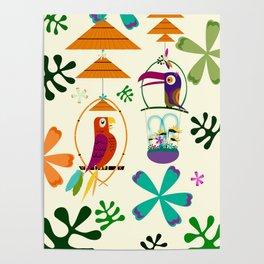 Vintage Modern Tiki Birds Poster