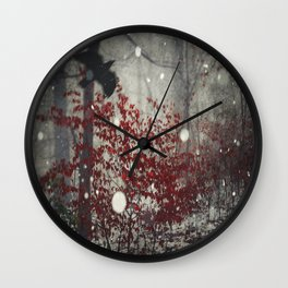 Heart of Winter - Red Tree in Forest Wall Clock