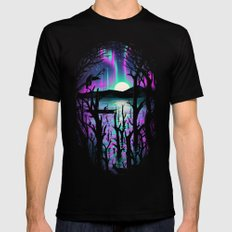 Night With Aurora MEDIUM Black Mens Fitted Tee