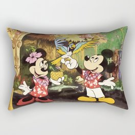 Mickey & Minnie Mouse In The Tiki Room Rectangular Pillow