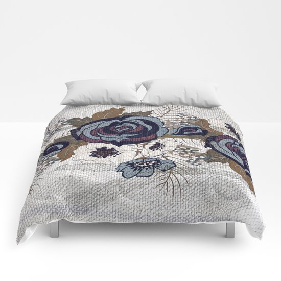 floral band and fabric effect Comforters