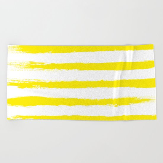 Sunny Yellow STRIPES Handpainted Brushstrokes Beach Towel