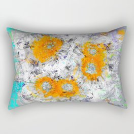 Abstract Floral Mixed Media Watercolor Ink Painting , orange & aqua Rectangular Pillow