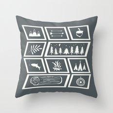 Camping [Reversed] Throw Pillow