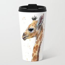 Giraffe Watercolor Cute Baby Animals Whimsical Art Travel Mug