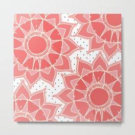 Coral ivory floral mandala black white polka dots Metal Print