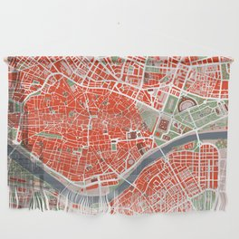 Seville city map classic Wall Hanging