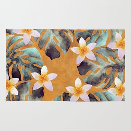Tropical Monstera Leaf and Plumeria Flower Pattern Rug