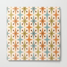 Mid Century Modern Abstract Star Pattern 441 Orange Brown Blue Olive Green Metal Print
