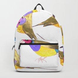 Red headed male Gouldian finch or Erythrura gouldiae watercolor birds painting Backpack