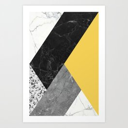 Black and White Marbles and Pantone Primrose Yellow Color Art Print