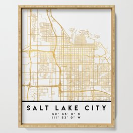 SALT LAKE CITY UTAH CITY STREET MAP ART Serving Tray