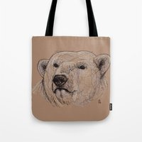 polar bear Tote Bags featuring Polar Bear by Ursula Rodgers