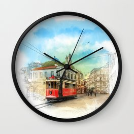 Old tram in Istanbul Wall Clock