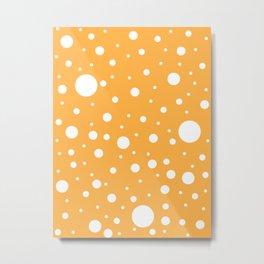 Mixed Polka Dots - White on Pastel Orange Metal Print