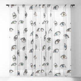 The Anatomy Eyes Repeating Pattern Sheer Curtain