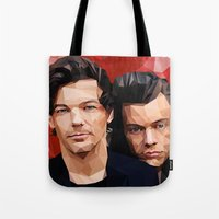 larry stylinson Tote Bags featuring Polygonal Larry by Peek At My Dreams