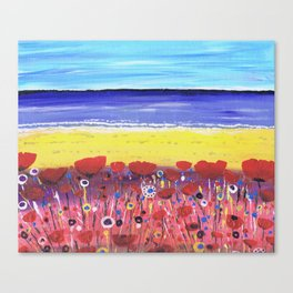 Poppies by the Beach Canvas Print