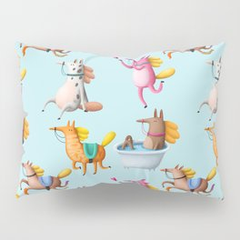 Cute and Whimsical Horse Pattern on Light Blue Pillow Sham