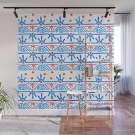 Aztec pattern in blue Wall Mural