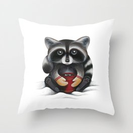 Raccoon with Hot Chocolate Throw Pillow