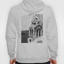 Blue Chapel Santorini Greece Black and White Watercolor Painting Hoody